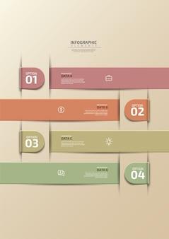 Bannière d'options de style origami étape entreprise moderne l'illustration vectorielle peut être utilisée pour la mise en œuvre du flux de travail