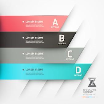 Bannière d'options de style origami moderne.
