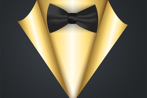Bannière en or dans le style de papier curl avec noeud papillon.