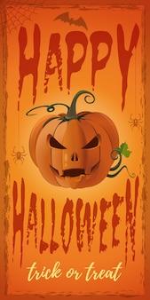 Bannière orange verticale pour halloween avec jack-o-lantern.