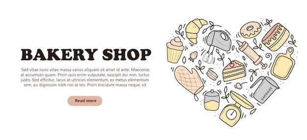 Bannière d'outils de cuisson et de cuisson, sous la forme d'un cœur, d'un mixeur, d'un gâteau, d'une cuillère, d'un cupcake, d'une balance. illustration vectorielle dans le style doodle. un croquis dessiné à la main sur un fond blanc.