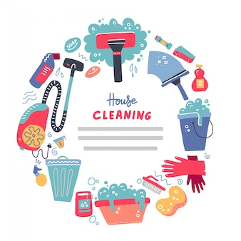 Bannière d'outils de nettoyage pour les services de la maison.