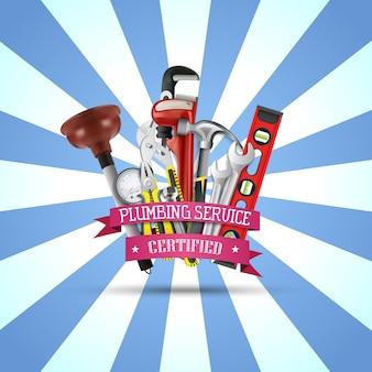Bannière d'outils de réparation de services de plomberie