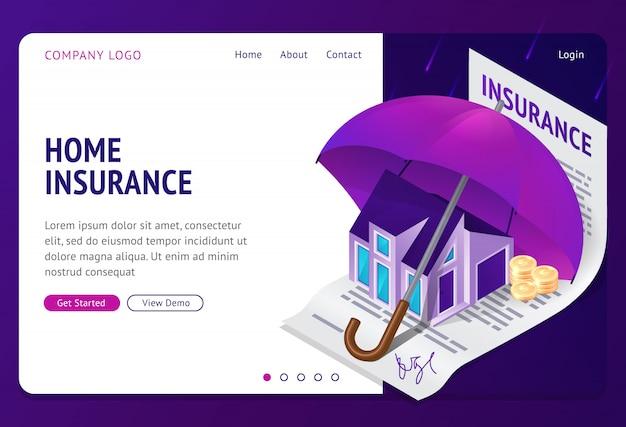 Bannière de page de destination isométrique d'assurance des biens