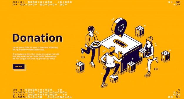 Bannière de page de destination isométrique de don et de charité