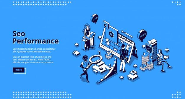 Bannière de page de destination isométrique de performance seo