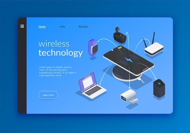 Bannière ou page de destination isométrique des technologies sans fil
