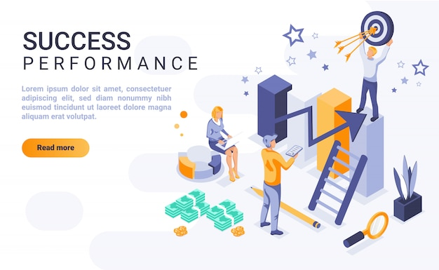 Bannière de page de destination de performance de succès avec illustration isométrique