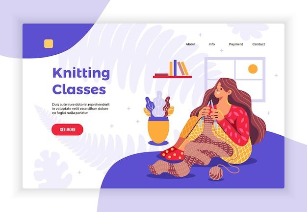 Bannière de page de destination plate de concept de loisirs avec une jeune femme suivant des cours de tricot en ligne à la maison
