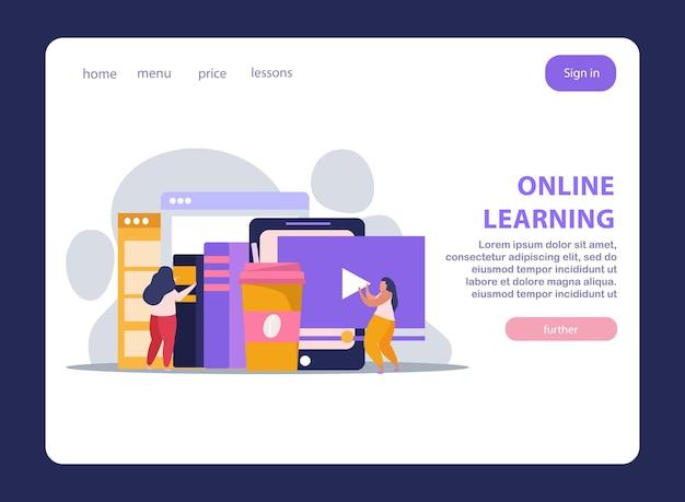 Bannière de page de destination plate pour l'enseignement à domicile en ligne