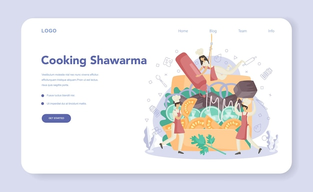 Bannière ou page de destination de shawarma street food