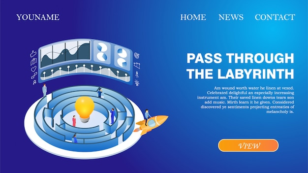 Bannière page web d'accueil passez dans le labyrinthe