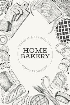 Bannière de pain et de pâtisserie. boulangerie illustration dessinée à la main. modèle vintage.