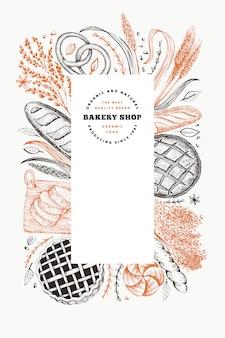 Bannière de pain et de pâtisserie. boulangerie illustration dessinée à la main.