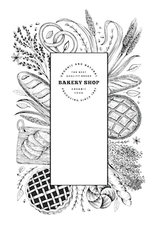 Bannière de pain et de pâtisserie. illustration dessinée à la main de boulangerie. modèle de conception vintage.