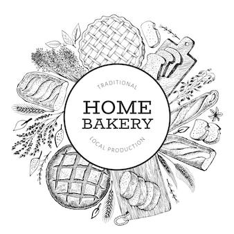 Bannière de pain et de pâtisserie. illustration vectorielle de boulangerie dessinés à la main.