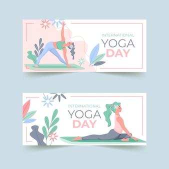 Bannière de la paix intérieure de la journée internationale du yoga