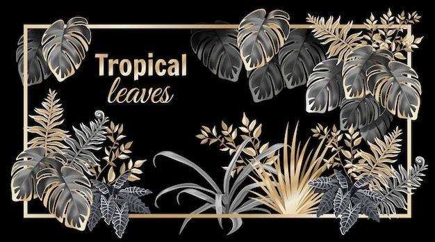 Bannière avec palmiers et lianes de feuilles sombres.