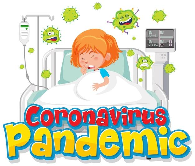 Bannière de pandémie de coronavirus avec personnage de dessin animé patient fille