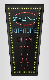 Bannière de panneau lumineux led brillante avec signe de karaoké