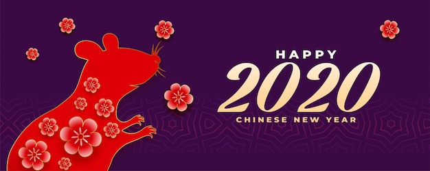 Bannière panoramique joyeux nouvel an chinois 2020