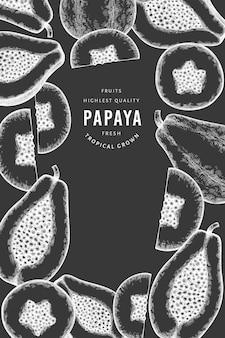 Bannière de papaye de style croquis dessinés à la main. illustration de fruits frais biologiques à bord de la craie. modèle de fruits rétro