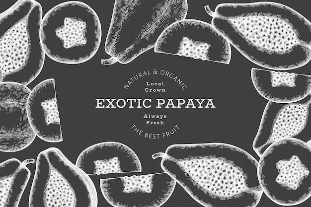 Bannière de papaye de style croquis dessinés à la main. illustration vectorielle de fruits frais biologiques à bord de la craie. modèle de conception de fruits rétro