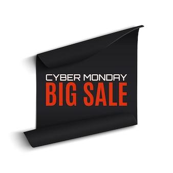 Bannière de papier courbé cyber monday vente, isolé sur fond blanc.