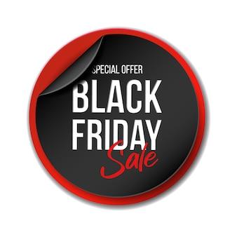 Bannière en papier courbé réaliste noir pour la super vente du vendredi noir