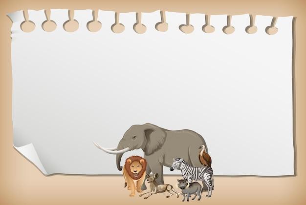 Bannière de papier vide avec animal africain sauvage