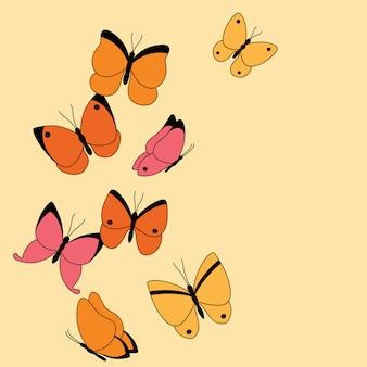 Bannière avec papillons colorés et lieu