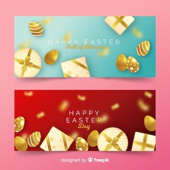Bannière de pâques cadeaux dorés