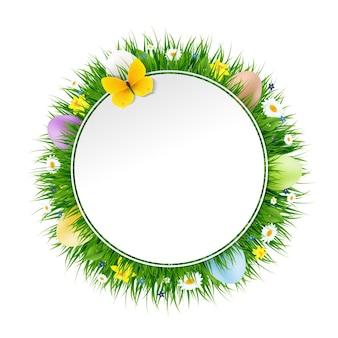Bannière de pâques heureuse avec illustration de filet de dégradé