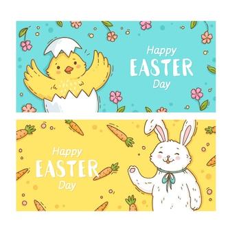 Bannière de pâques illustrée