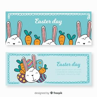 Bannière de pâques lapin de dessin animé