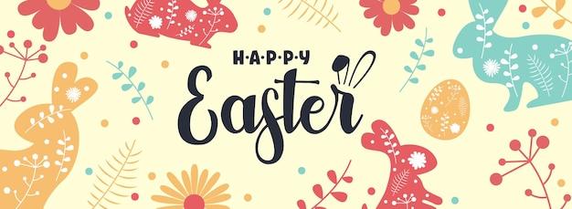 Bannière de pâques avec des lapins et des fleurs. illustration