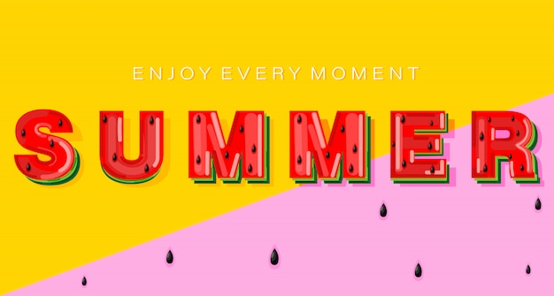 Bannière de pastèque d'été