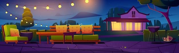 Bannière avec patio village cottage maison cour la nuit en plein air