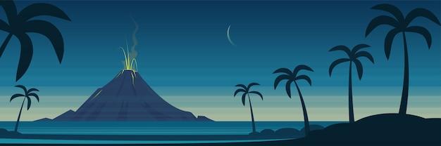 Bannière de paysage d'éruption de volcan d'île tropicale