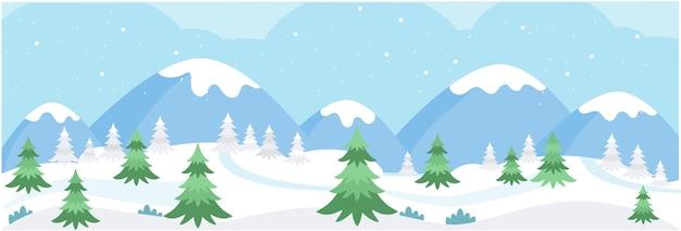 Bannière avec paysage de montagnes enneigées d'hiver pins sur fond de montagnes et de collines