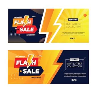 Bannière de paysage de vente flash avec forme de tonnerre
