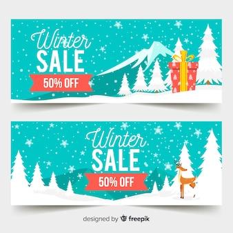 Bannière de paysage de vente d'hiver