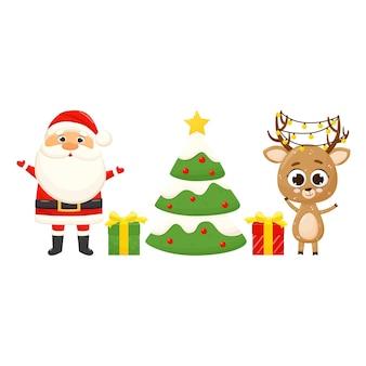 Bannière avec le père noël, le cerf de noël, l'arbre de noël et les cadeaux