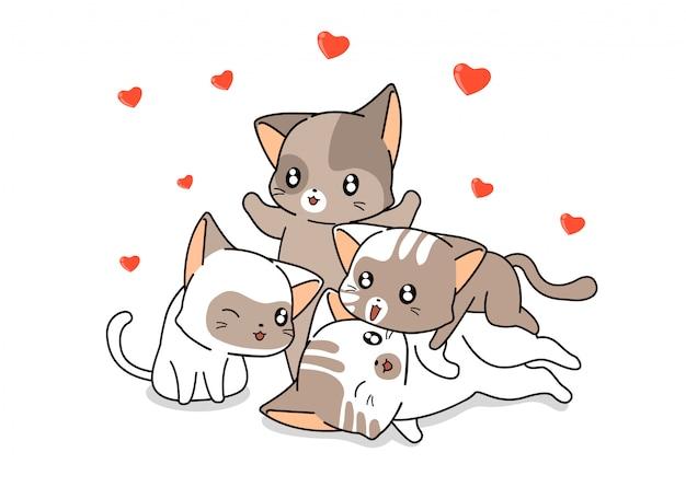 Bannière les personnages de chats kawaii sont de bons amis