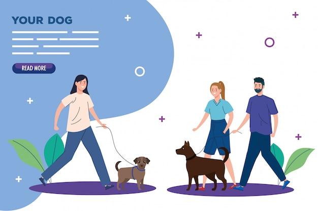 Bannière de personnes marchant avec des chiens