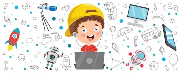 Bannière avec petit enfant à l'aide de la technologie
