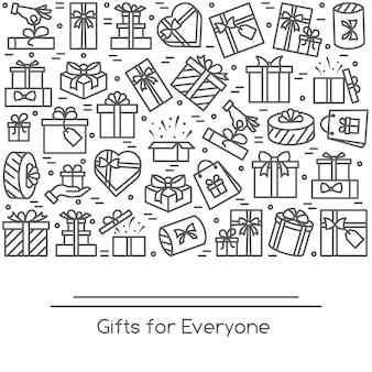 Bannière avec pictogrammes de boîtes-cadeau emballées à trait modifiable collectées sous forme de rectan