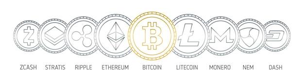 Bannière avec des pièces de crypto-monnaie dessinées avec des lignes de contour