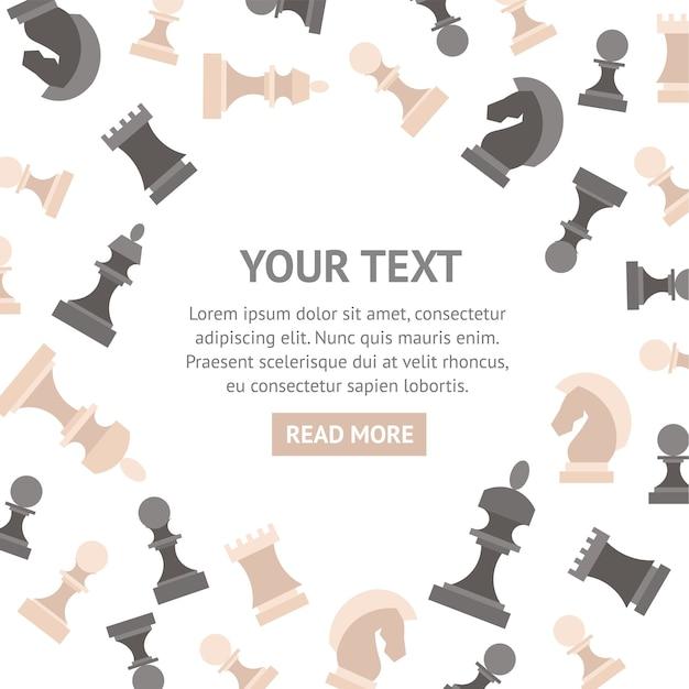 Bannière de pièces d'échecs avec place pour votre texte.