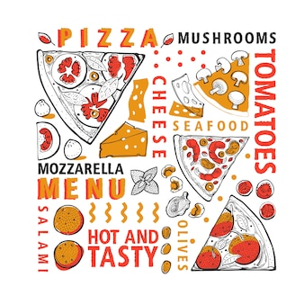 Bannière pizza et ingrédients vecteur typographique